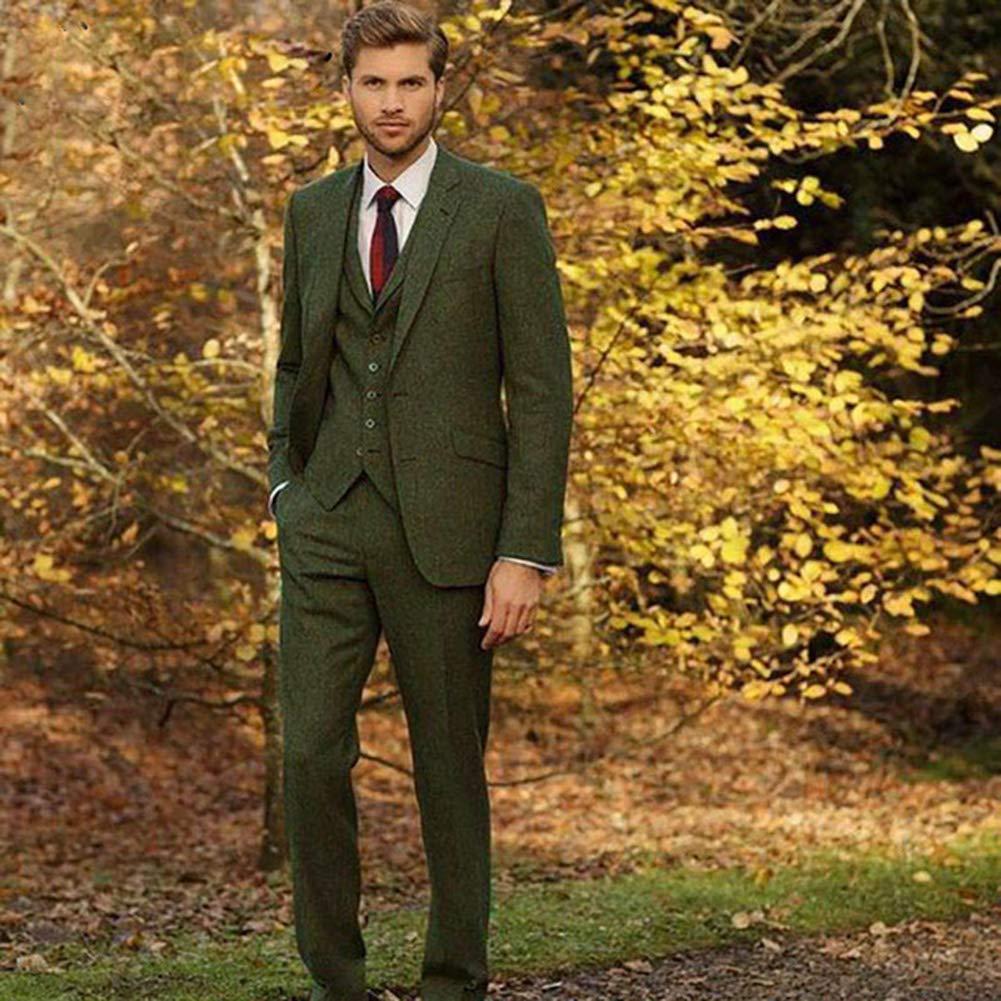 High-End Blue Tweed Suit Grey Brown Wool Herringbone Men Suit Modern Fit Blazer 3 Pieces Fit Tweed Men Suits Jacket
