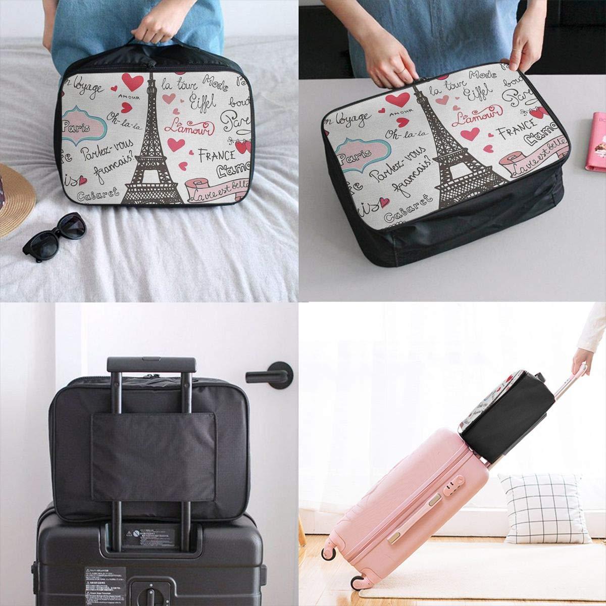 ADGAI Paris Symbols Lettering Heart Canvas Travel Weekender Bag,Fashion Custom Lightweight Large Capacity Portable Luggage Bag,Suitcase Trolley Bag