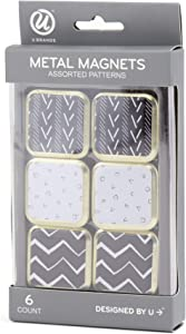 U Brands Metal Magnets, Assorted Black/White/Gold Prints, 6-Count (2158U06-24)