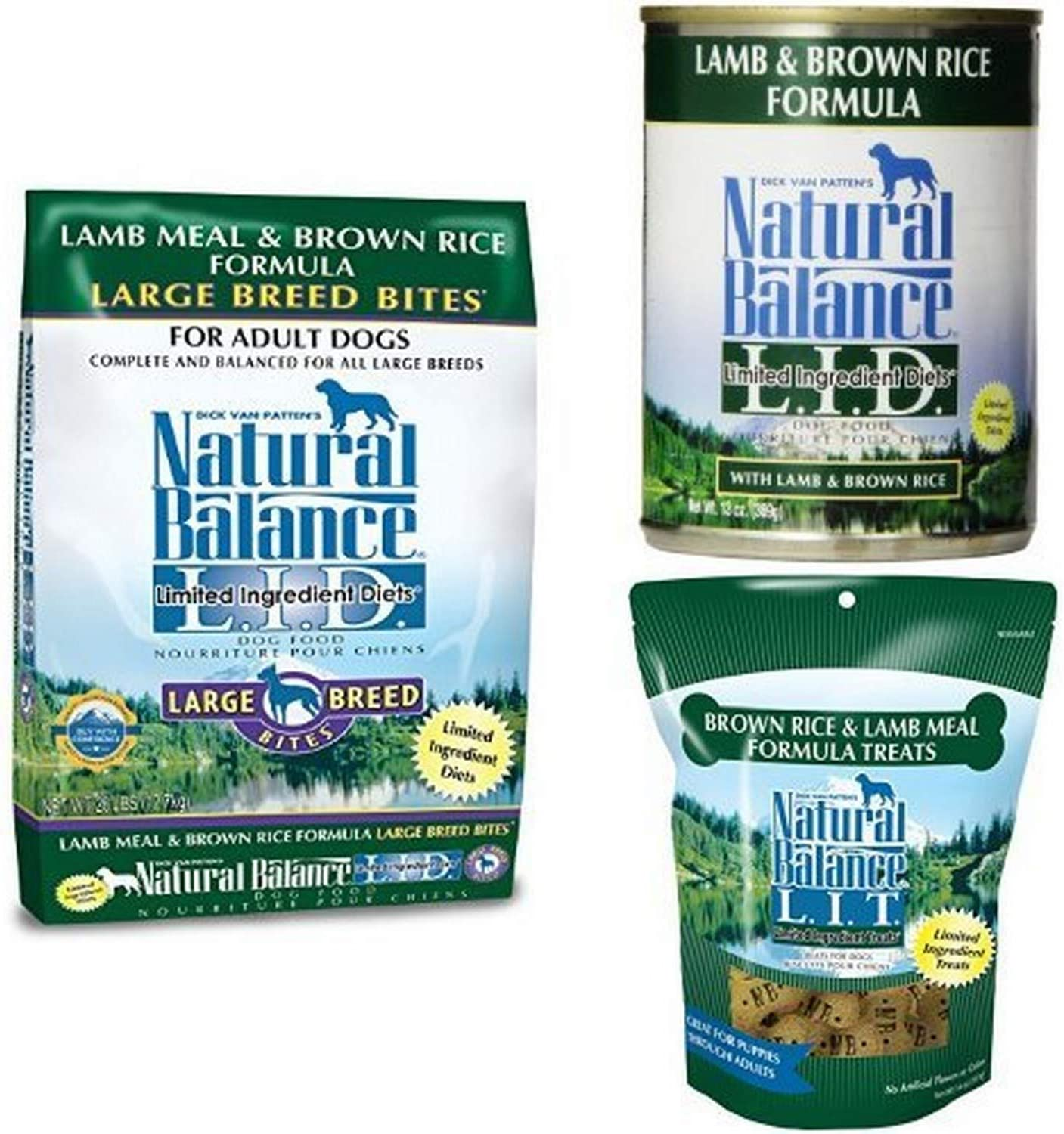 Natural Balance Limited Ingredient Dog Food And Treats, Lamb Meal & Brown Rice Formula, Bundle: 28-Pound Bag Dry Dog Food, Large Breeds, 13-Ounce Cans (Pack Of 12) Wet Dog Food, 14-Ounce Bag Dog Treats