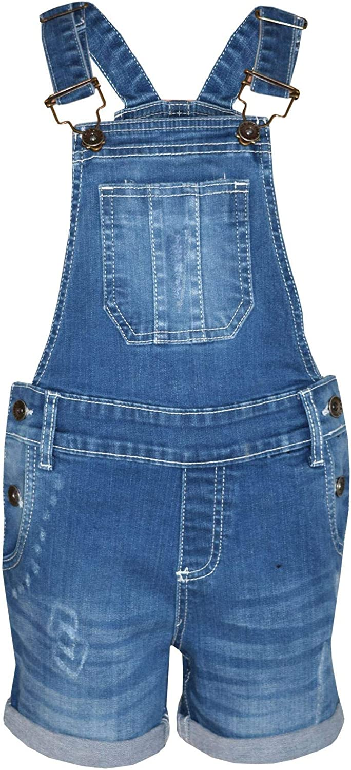 A2Z 4 Kids Kids Girls Dungaree Shorts Designers Light Blue Denim Ripped Stretch Jeans Overall All in One Jumpsuit Playsuit Age 5 6 7 8 9 10 11 12 13 Years