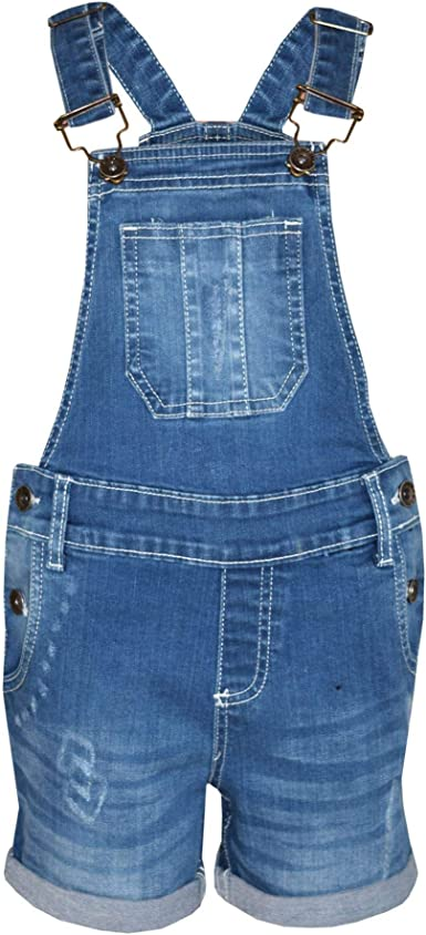 A2Z 4 Kids/® Kids Girls Dungaree Shorts Designers Dark Blue Denim Ripped Stretch Jeans Overall All in One Jumpsuit Playsuit Age 5 6 7 8 9 10 11 12 13 Years