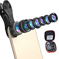 APEXEL 7 in 1 Universal Clip-On Cell Phone Camera Lens Kit, Professional HD Zoom Telephoto Lens + Fisheye + Wide Angle + Macro Lens + CPL Lens + Kaleidoscope Lens + 0.36X Super Wide Lens