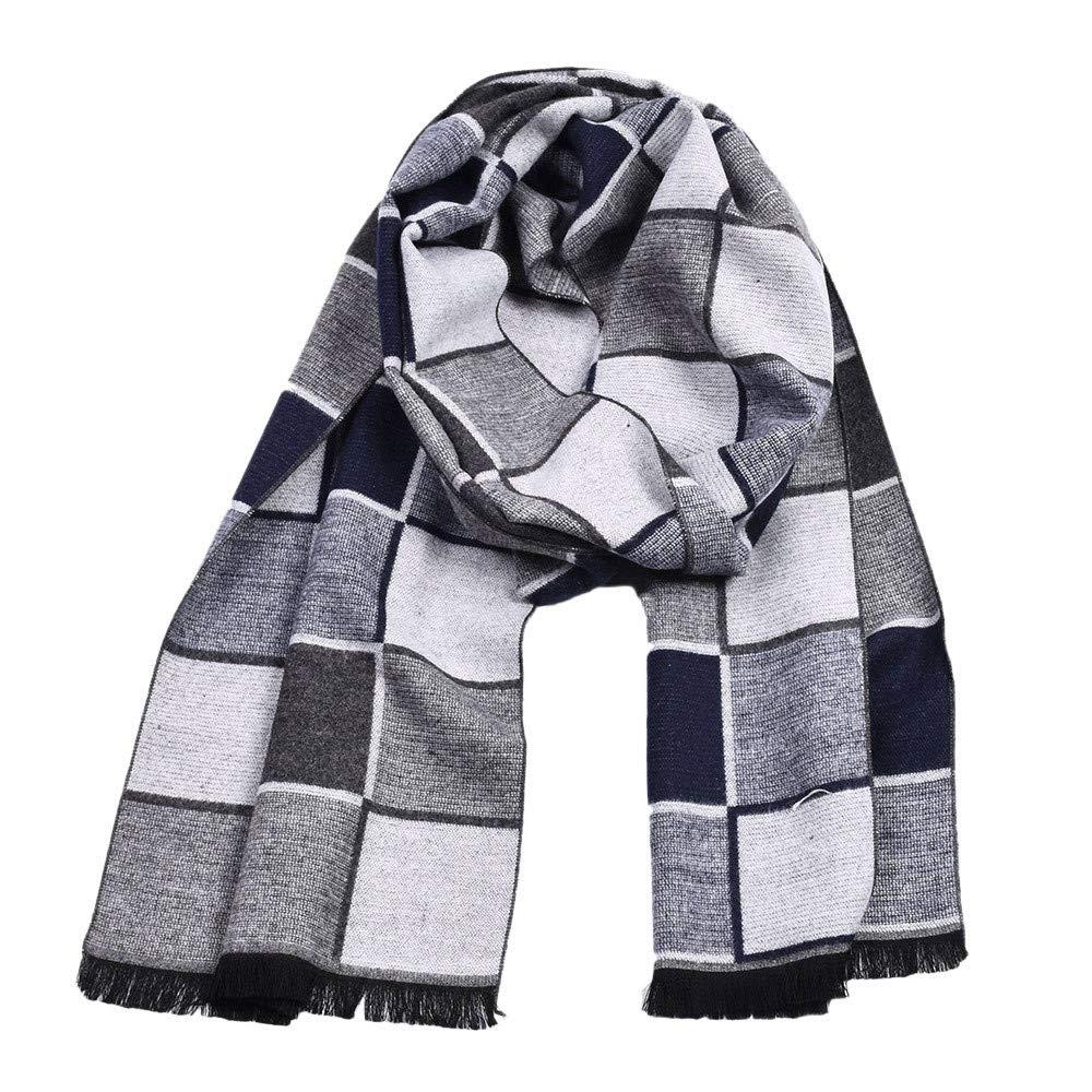 Plaid Knit Custom Warm Men Scarf Wrap Cozy Tassel Shawl Winter Elastic (white)