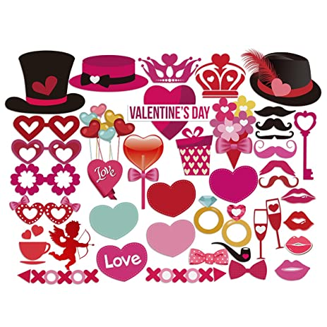 PBPBOX Valentines Day Photo Booth Props DIY Creative Funny Disguise Props  40 Pieces