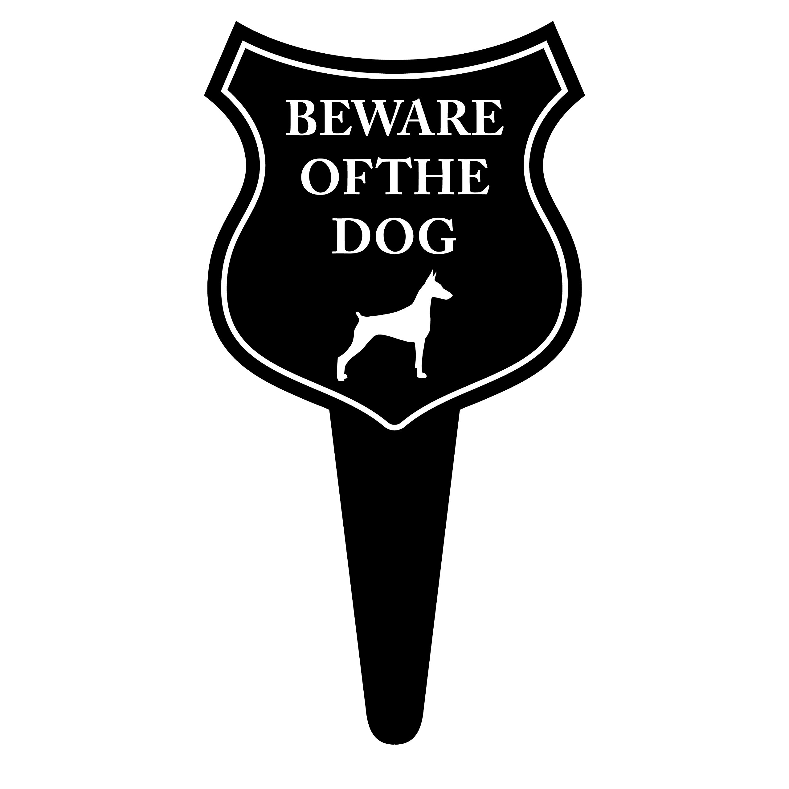 iCandy Products Inc Beware Of Dog Lawn Stake Sign No Poop Peeing Home Flower Bed Signs 9.5x18 Inches - Aluminum