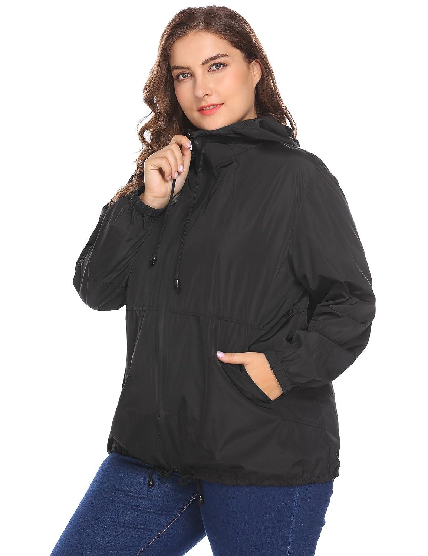 ac8fce72ef9 Amazon.com  IN VOLAND Women s Plus Size Raincoat Rain Jacket Lightweight  Waterproof Coat Jacket Windbreaker with Hooded  Clothing