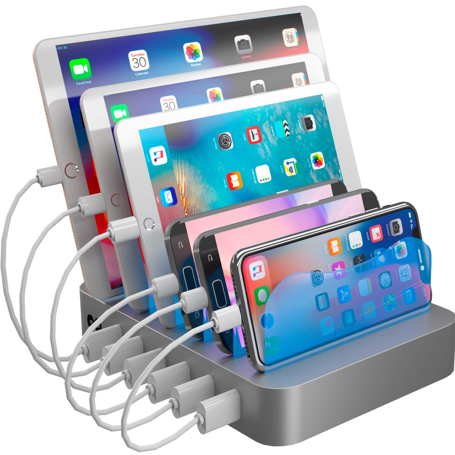 Hercules Tuff Charging Station Organizer for Multiple Devices - 6 Short Mixed Cables Included for Cell Phones  Smart Phones  Tablets  and Other Electronics