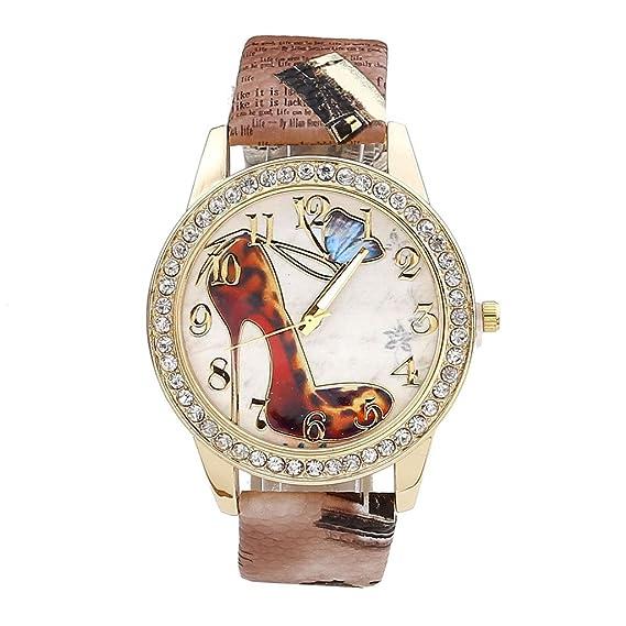 Reloj Pulsera Mujer Patrón Retro Tacón Alto con Mariposa Elegante de Moda, Caja Dorada con Diamantes, Banda Cuero PU Tallada Efecto Antiguo, ...
