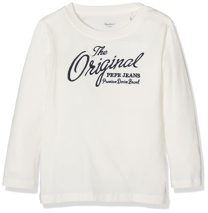 Pepe Jeans PB501075, Camiseta de Manga Larga Para Niños, Blanco (Off White), 5 años: Amazon.es: Ropa y accesorios