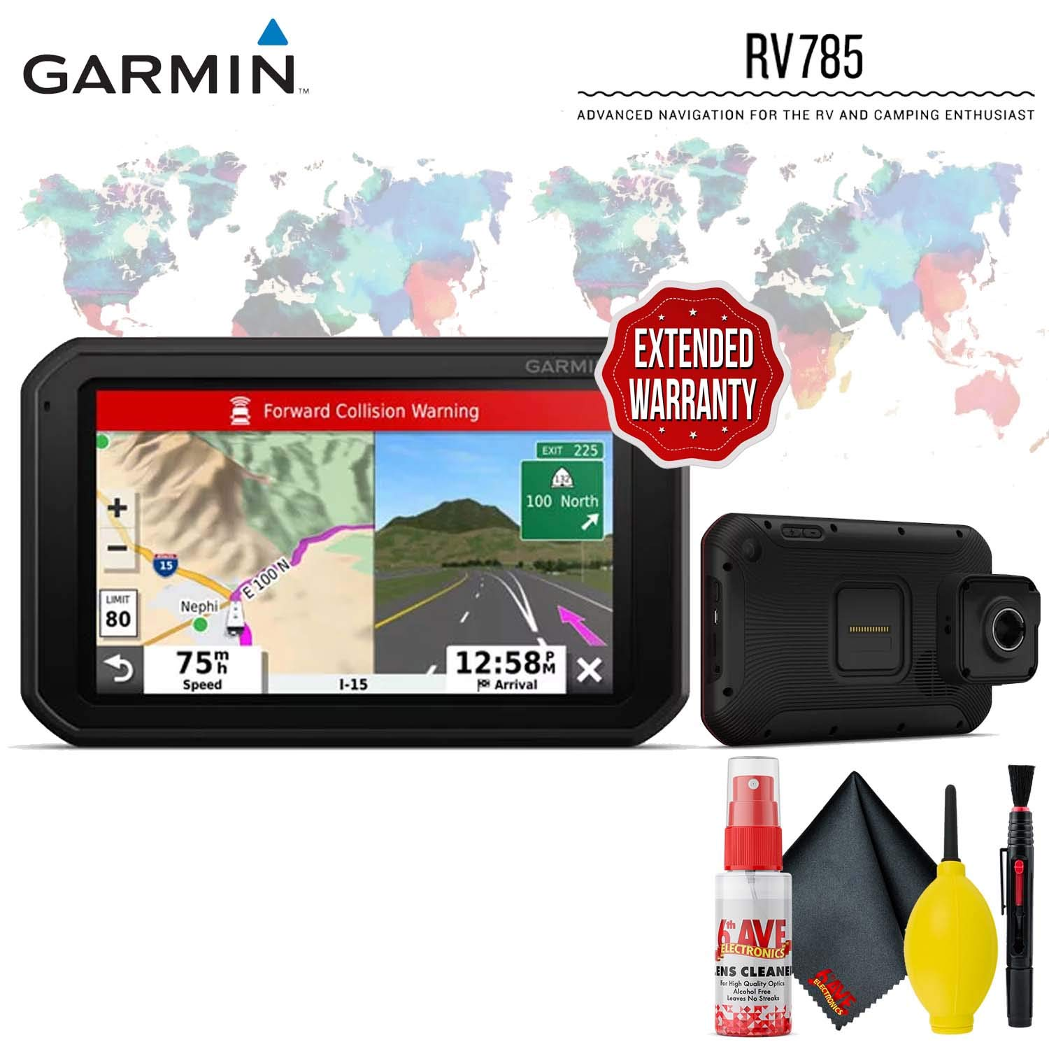 Garmin RV 785 & Traffic, Advanced GPS Navigator for RVs with Built-in Dash Cam, 7'' Touch Display and Voice-Activated Navigation Protective Accessory Kit by Garmin