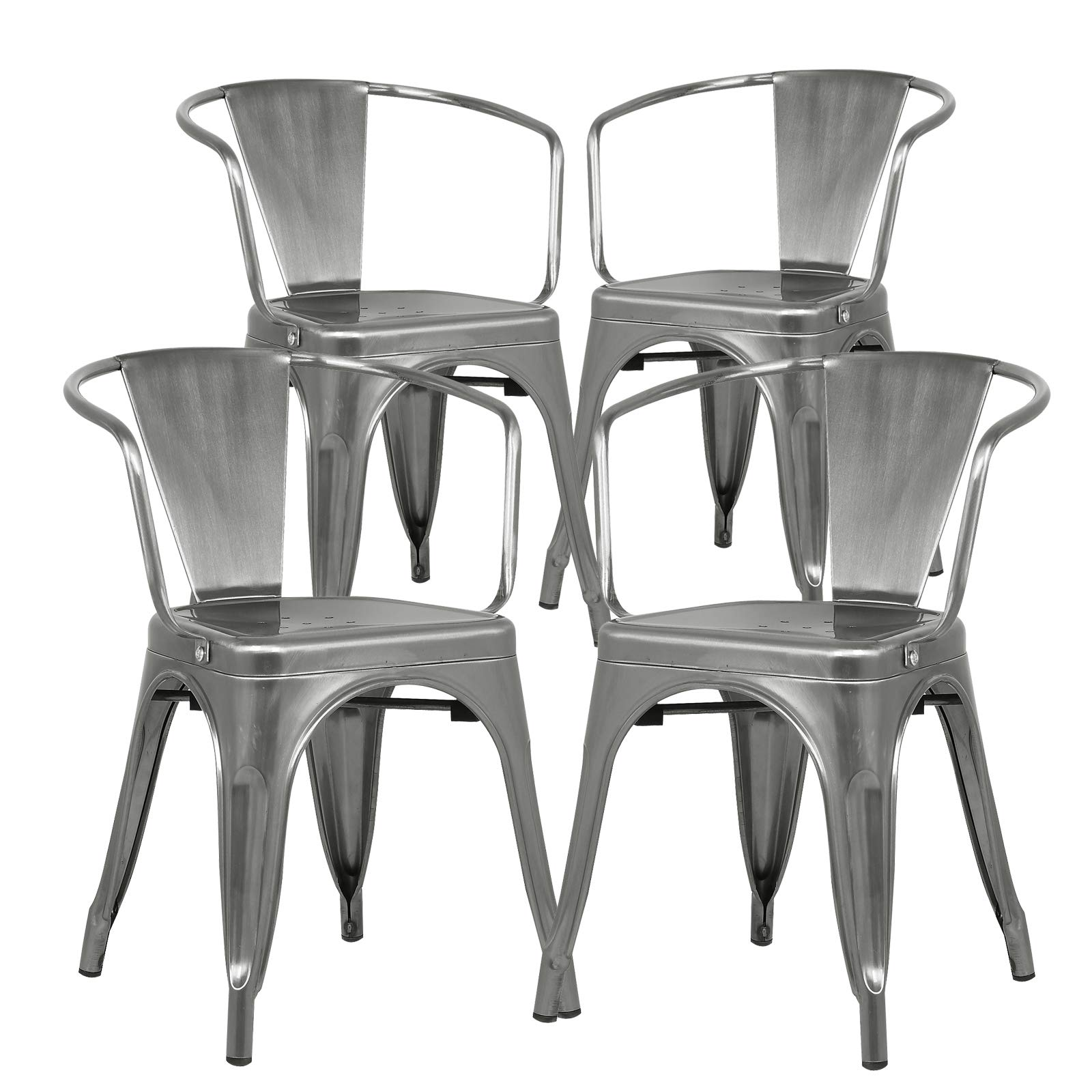 Poly and Bark Trattoria Modern Mid-Century Dining Kitchen Metal Side Arm Chair in Polished Gunmetal (Set of 4) by POLY & BARK