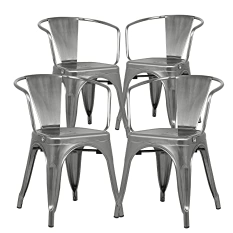 Stupendous Poly And Bark Trattoria Modern Mid Century Dining Kitchen Metal Side Arm Chair In Polished Gunmetal Set Of 4 Bralicious Painted Fabric Chair Ideas Braliciousco