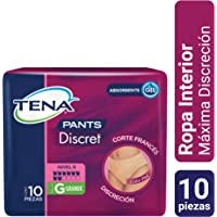 TENA PANTS Discret: Ropa Interior Desechable Discreta, Corte Francés, Grande, Paquete de 10 Piezas
