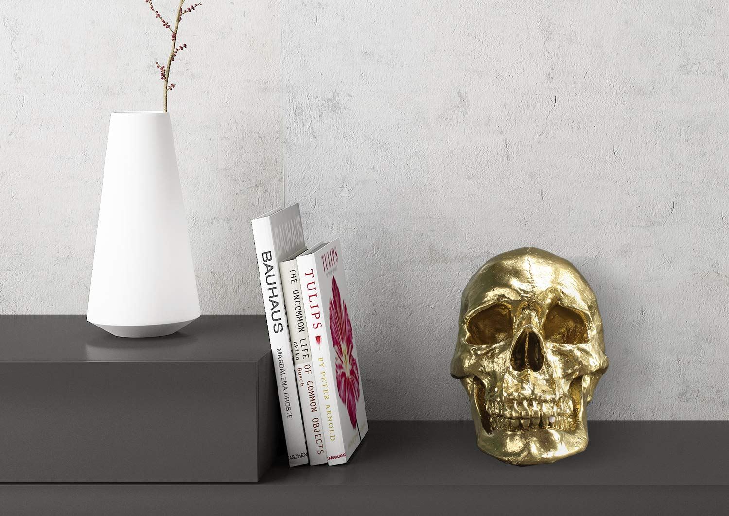 Wall Charmers Life Size Human Skull - 8.5'' Gold Faux Human Anatomy - Table Top Skeleton Head Home Decor by Wall Charmers (Image #2)