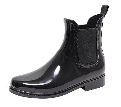 86d02ba81e07c6 Chelsea Boots Damen Regenstiefel Regenstiefelette Gummistiefel ...