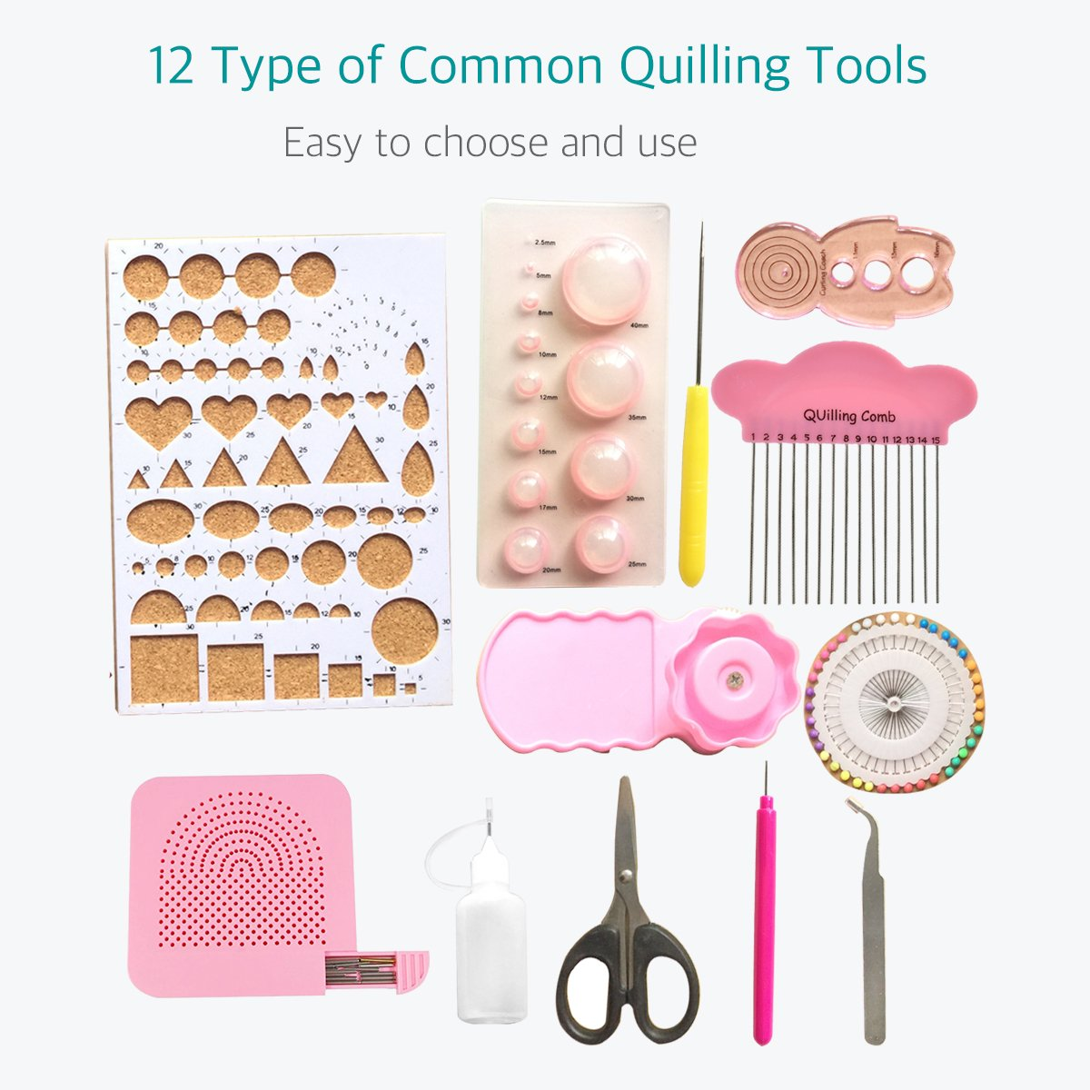 Lantee Quilling Supplies - 20 Sets of Quilling Paper Kits Include 8 Pack of 3mm 960 Quilling Paper Strips and 12 Quilling Tools by Lantee (Image #2)