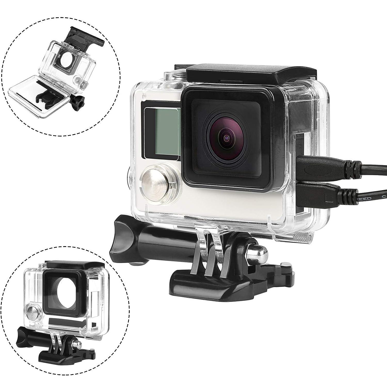 D&F サイドオープン保護ハウジングケース ワイヤー接続可能標準フレーム GoPro Hero 4、Hero 3+アクションカメラ用   B07GLLXCVR