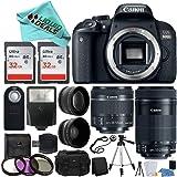 Canon EOS Rebel T7i / 800d Digital SLR Camera + EF-S 18-55mm is STM Lens + EF-S 55-250mm is STM Lens + Wide Angle Lens & Telephoto Lens + 64GB Memory Card + Flexible Tripod+ Liquid Deals Bundle