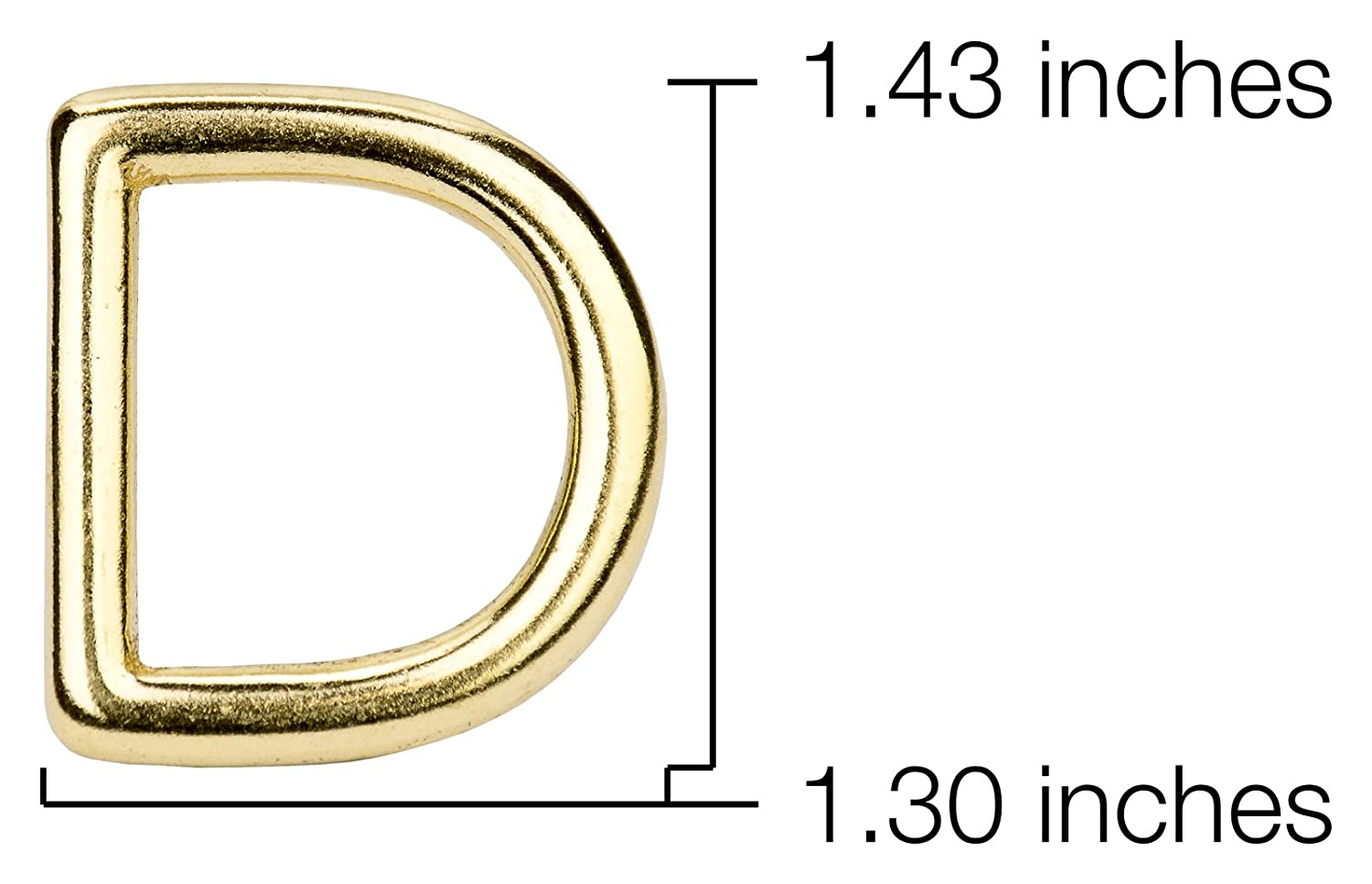 10-Country Brook Design 1 Inch Solid Brass Die Cast Square Bottom D-Rings