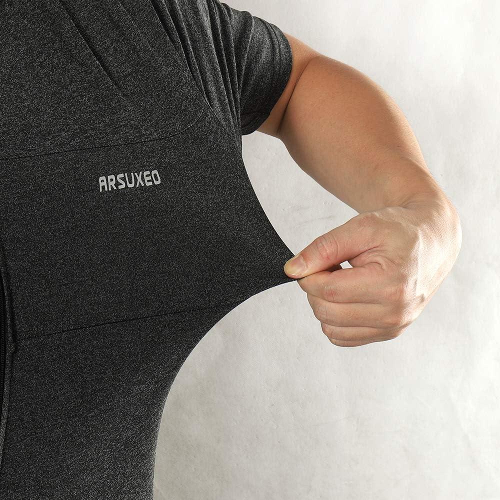 ARSUXEO Mens Elastic Cycling Jersey Short Sleeves MTB Bike Shirt 639