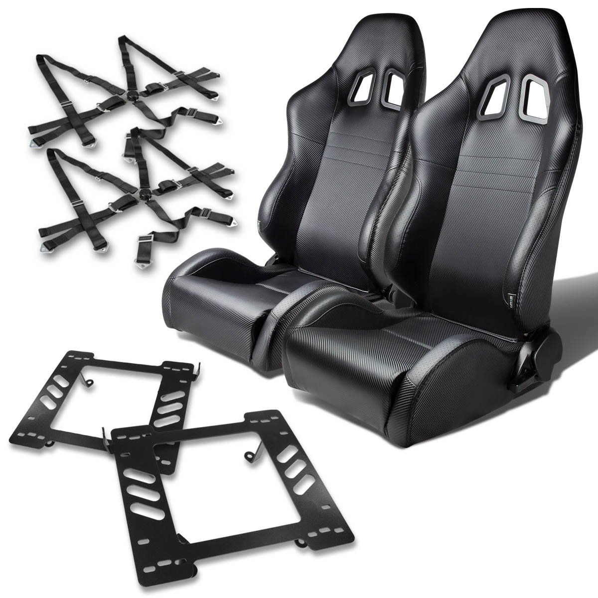 For Jeep Wrangler TJ Pair of PVC Leather Racing Seats (Carbon Fiber Look)+Seat Bracket+6-Point Camlock Red Belt Auto Dynasty