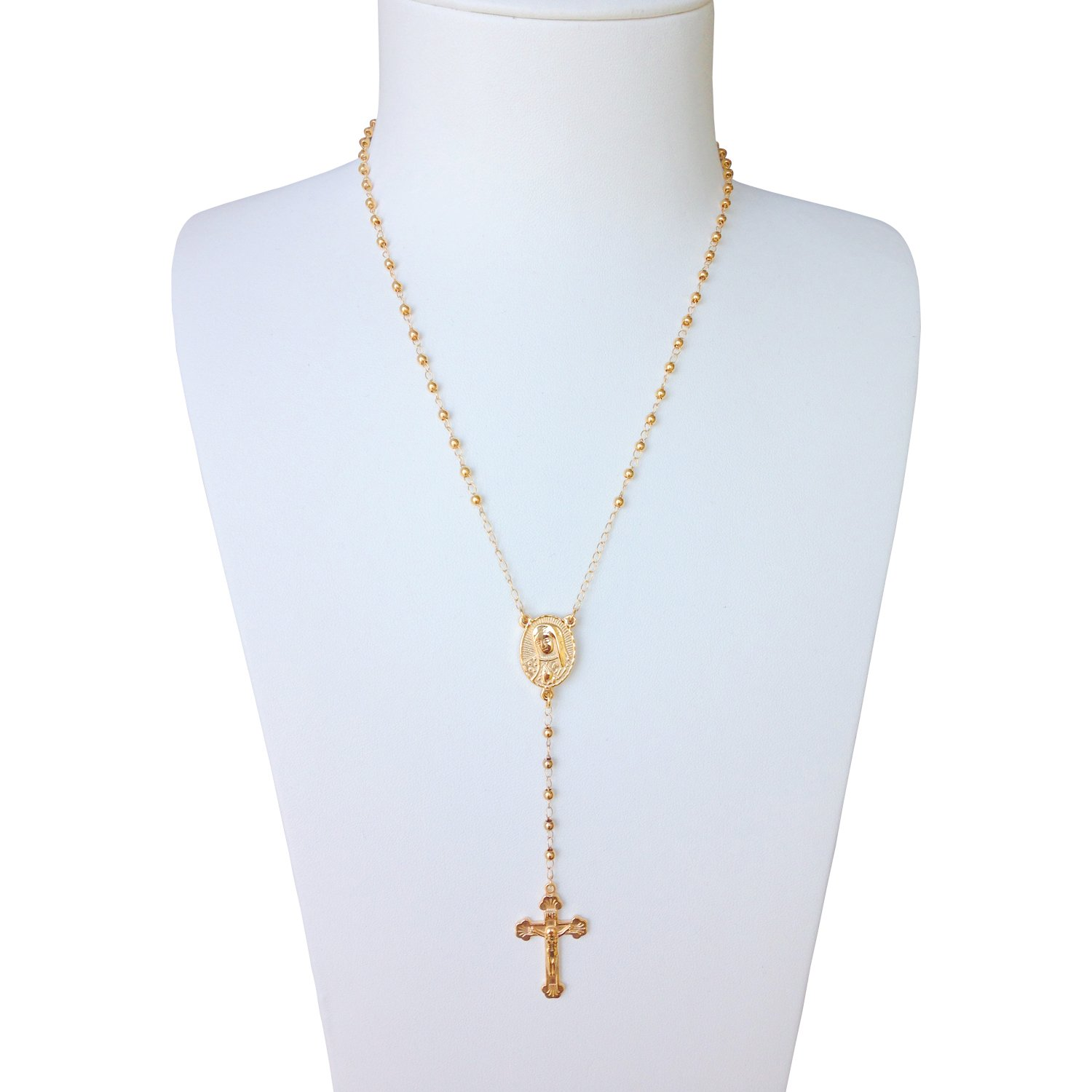 J.Shine Tiny Bead Gold Tone Stainless Steel Rosary Necklace Women Vintage Chain 16'' GN568