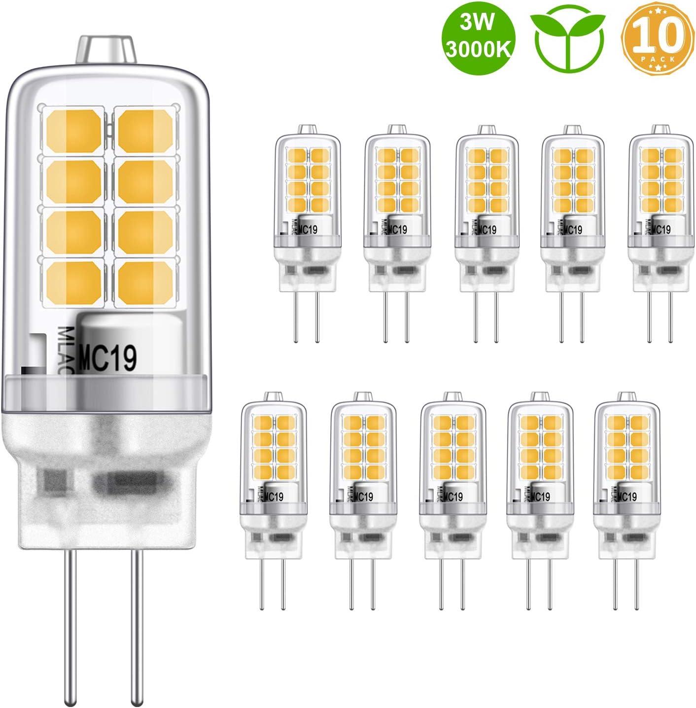 LED G4 Bulbo 3W Equivalente a 20W Halógeno Bombillas, Blanco cálido 3000K, g4 Enchufe El ahorro de energía Lámpara, Sin parpadeo, no regulable, 350LM, 12V AC/DC, paquete de 10