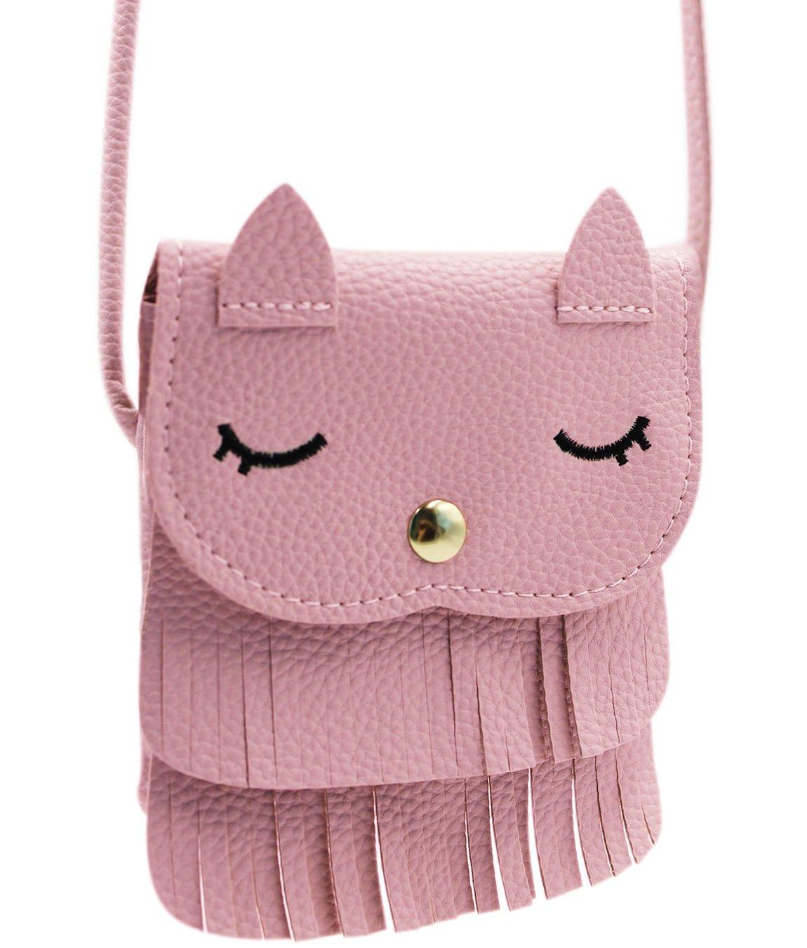Amamcy Cat Tassel Coin Purse Shoulder Bag PU Leather Purse Mini Crossbody Satchel Handbags for Toddler Kids Girls
