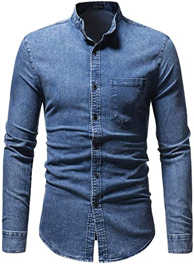 Camisa para Hombre Slim Fit Manga Larga para Hombre Tamaños Cómodos Manga Larga Denim Business Slim