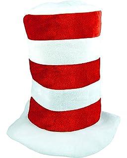 2ee5efeb MA ONLINE Kids Red White Stripe Tall Cat Hat Adults Dr Seuss Fancy Dress  Costume Accessory