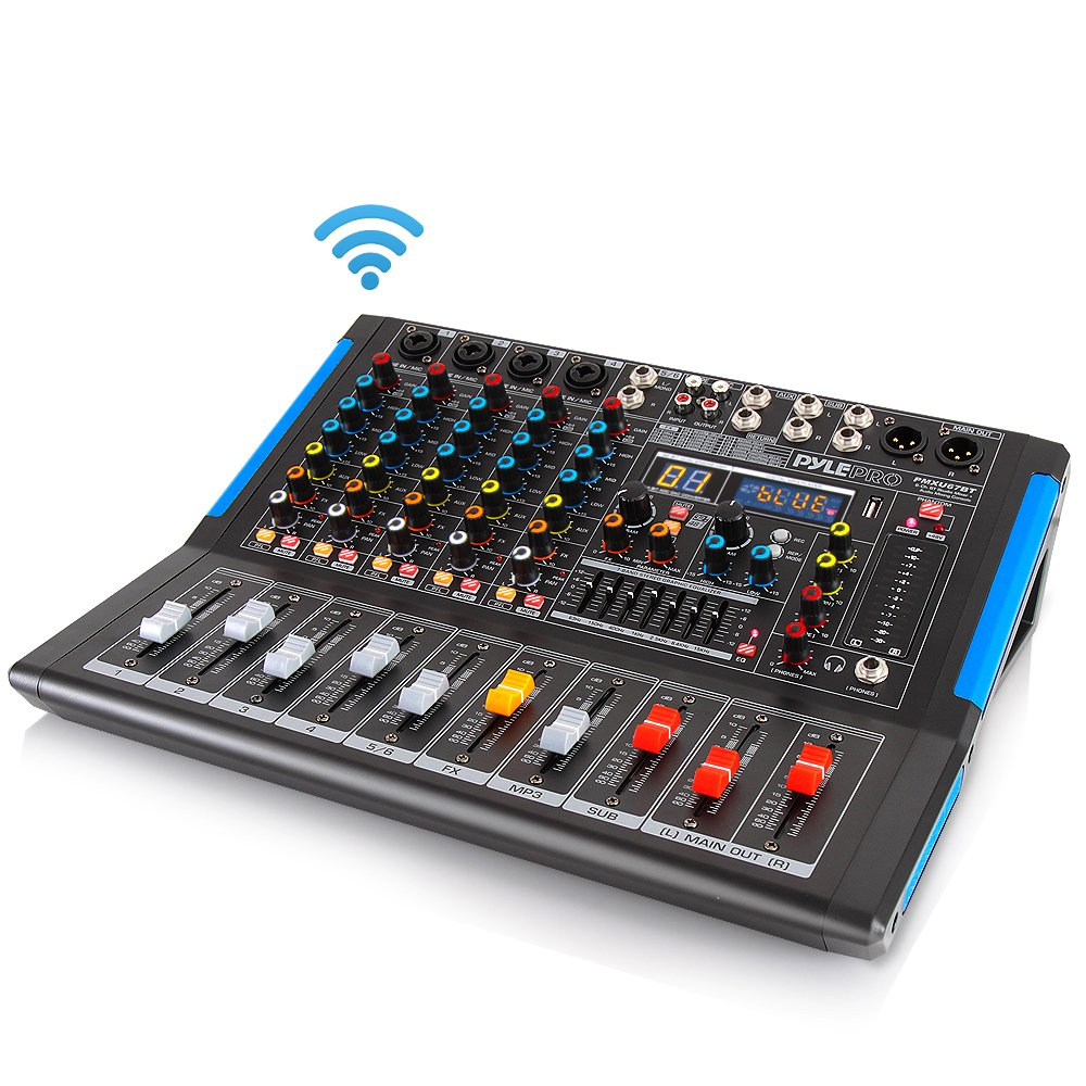 8-Channel Bluetooth Studio Audio Mixer - DJ Sound Controller Interface w/ USB Drive PC Recording Input, XLR Microphone Jack, 48V Power, RCA Input/Output Professional Beginners - PMXU88BT Sound Around