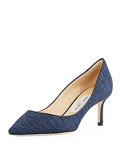 8950954cf Amazon.com | JIMMY CHOO Romy 60mm Canvas Pump 38.5 Blue | Pumps