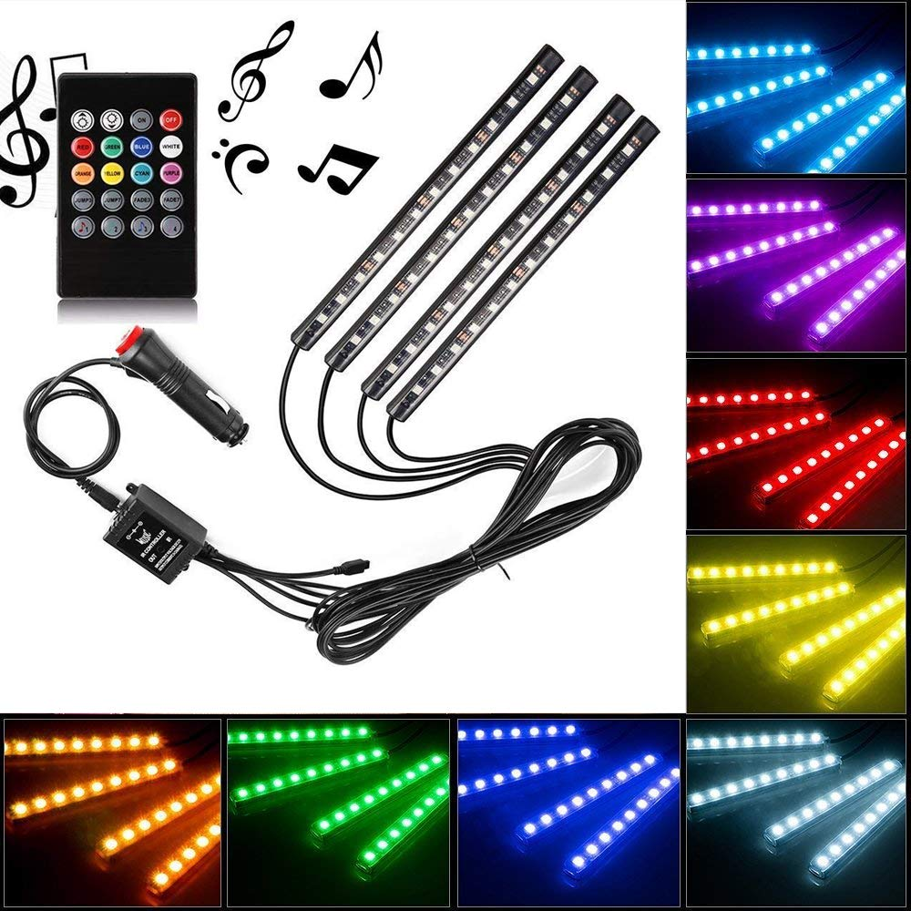 Car LED Strip Light by Releeder, 4pcs 48 LED DC 12V Multicolor Music Car Interior Light LED Under Dash Lighting Kit with Sound Active Function, Wireless Remote Control, Car Charger