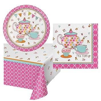 Amazon.com: Tea Time cumpleaños fiesta Pack vajilla ...