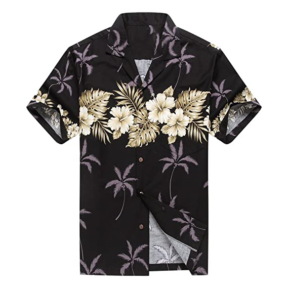 4abf31bb Made in Hawaii Men's Hawaiian Shirt Aloha Shirt S Palm with Cross Hibiscus  in Black