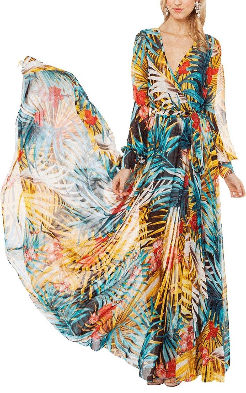 XFashion Damen's Printed Long Sleeve Sommer Boho Strand-Maxi Kleid