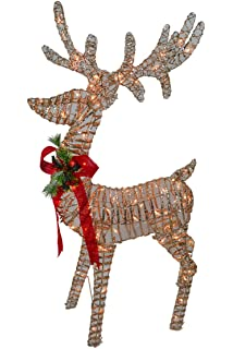 49 3d champagne glittered rattan reindeer with 100l indooroutdoor clear lights christmas - Outdoor Christmas Reindeer Decorations Lighted