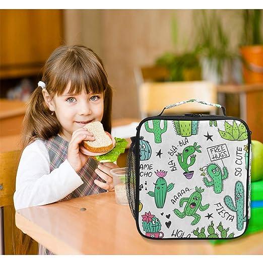 902710ef905b Amazon.com: Colorful Cartoon Cactus Face Lunch Bag Womens Insulated ...