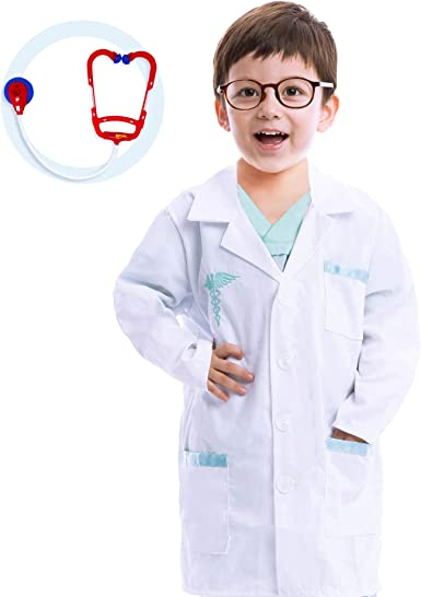 New Boys Girls Scientist Doctor White Lab Coat Super Soft Medical Coat for Kids