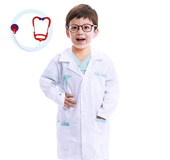 c176e3e266b Amazon.com: Jr. Doctor Lab Coat Deluxe Kids Toddler Costume Set for  Halloween Scrub Dress Up Party and Scientists Role Play: Clothing