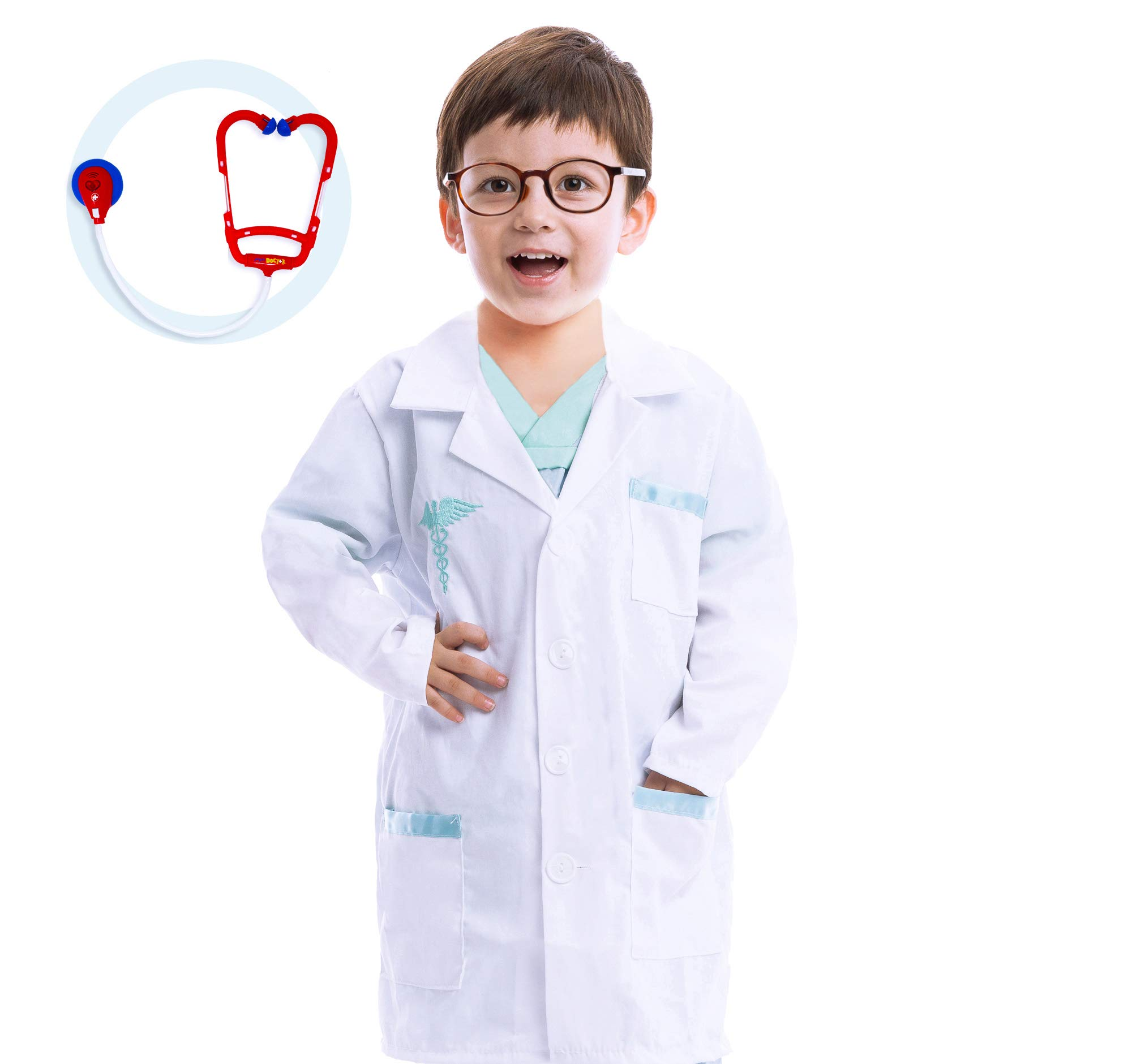 Jr. Doctor Lab Coat Deluxe Kids Toddler Costume Set for Halloween Dress Up Party (3T) White