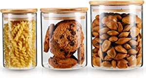 YULEER Airtight Food Storage Containers, Glass Jars with Lids,Glass Jar for Serving Candy, Cookie, Rice,Food - Set of 3