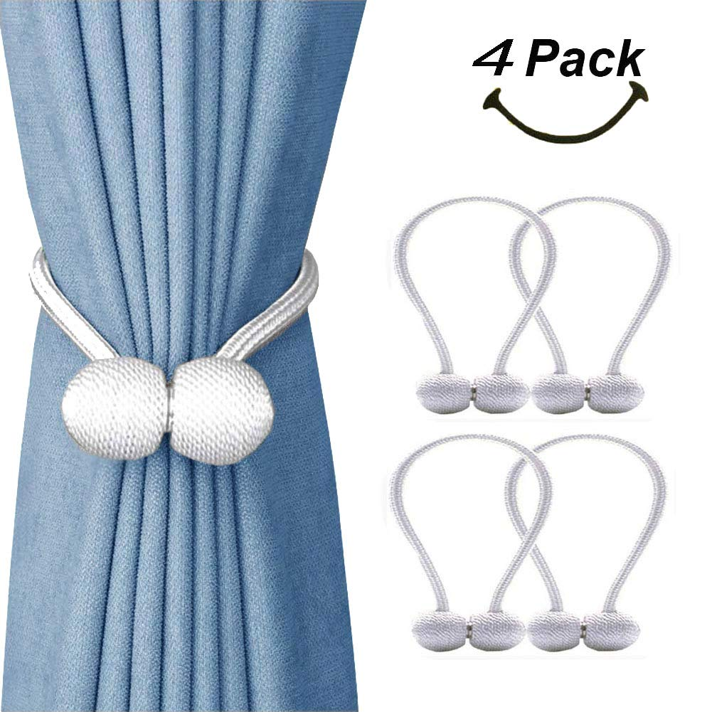 SmallDot Magnetic Curtain Tiebacks, [Pack of 4] Drapery Hooks Holdbacks Holders with Strong Magnet for Window Sheer Blackout Panels, 16 Inch,White