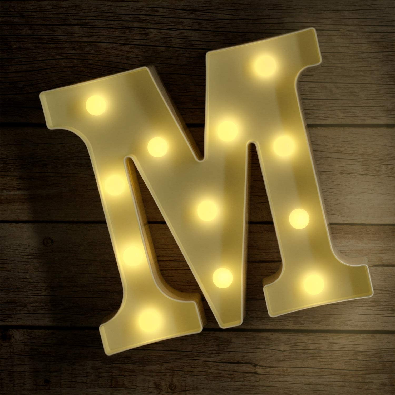 Novelty Place Alphabet Light - Marquee Letters Sign with Shining Bulbs, Standing Night Lamp for Wedding Home Party Bar Décor - Battery Powered, Warm White (Letter M)