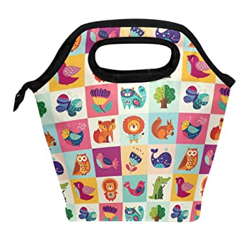 f188dce9a509 ALAZA Lunch Tote Bag Colorful Funny Cat Owl Fox Lion Whale Insulated Cooler  Thermal Reusable Bag, Cartoon Flowers Butterfly Tree Animal Lunch Box ...