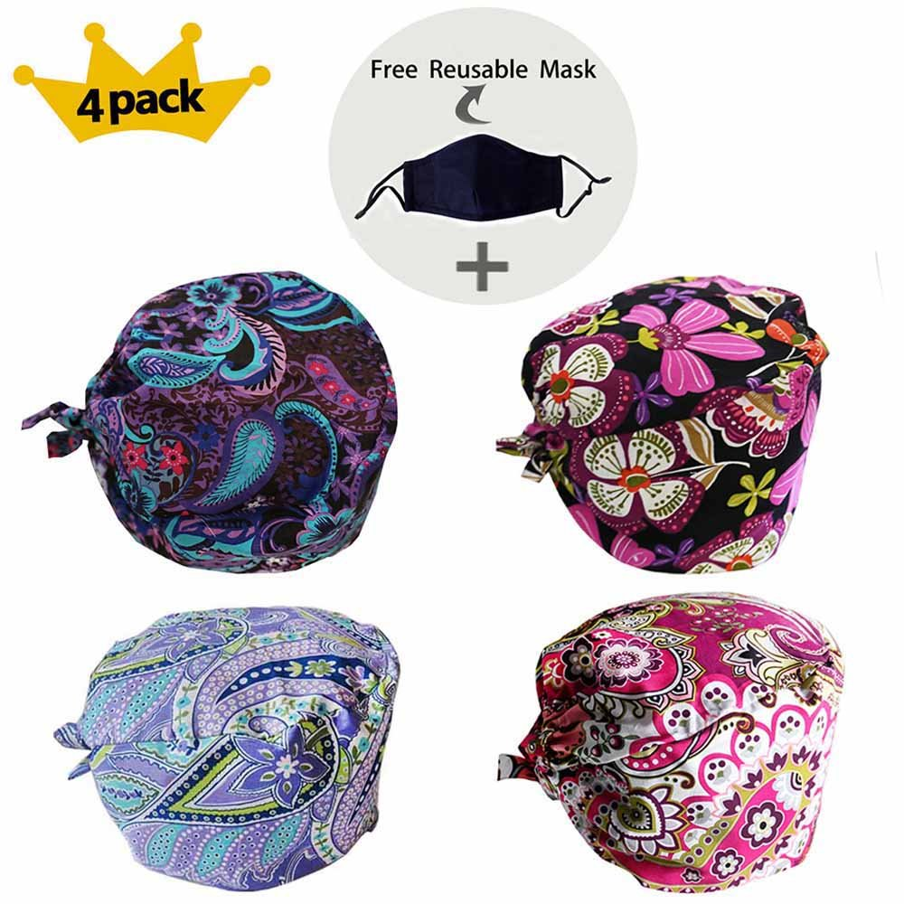 JoyRing 4 Pack Unisex Adjustable Surgical Hat Scrub Cap with Sweatband for Ponytail and Free Reusable Cotton Mask, One Size Fit Most