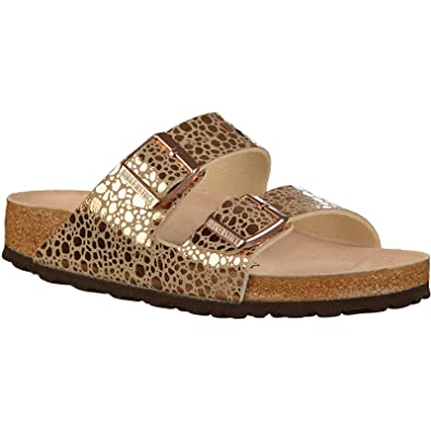 f9a1858beba Birkenstock Womens Arizona Metallic Stones Copper Birko-Flor Sandals 38 EU