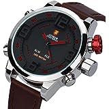Orologio da uomo Pelle Marrone Zeiger Orologio sportivo da polso, da uomo, cinturino in pelle marrone, orologio al quarzo impermeabile, con quadrante digitale a LED W296-W297 (Red)