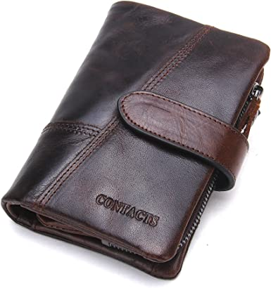 High Capacity Men/'s Genuine Leather Cowhide Wallet Bifold Coin Purse Card Holder